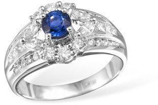 Кольцо  с бриллиантами  и сапфирами из белого золота TR430WGsap…