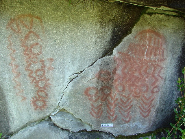 700yo rock paintings, by the mapuche people who crossed between Chile and Argentina via the Cochamo Valley. North Patagonia is full of treasures. http://www.secretpatagonia.com/eng/