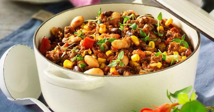 Chili con carne med bönor och majs