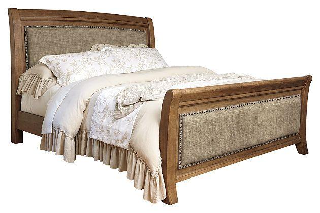 Grayish Brown Tamburg Queen Sleigh Bed View 2 Queen Sleigh Bed King Sleigh Bed Sleigh Beds