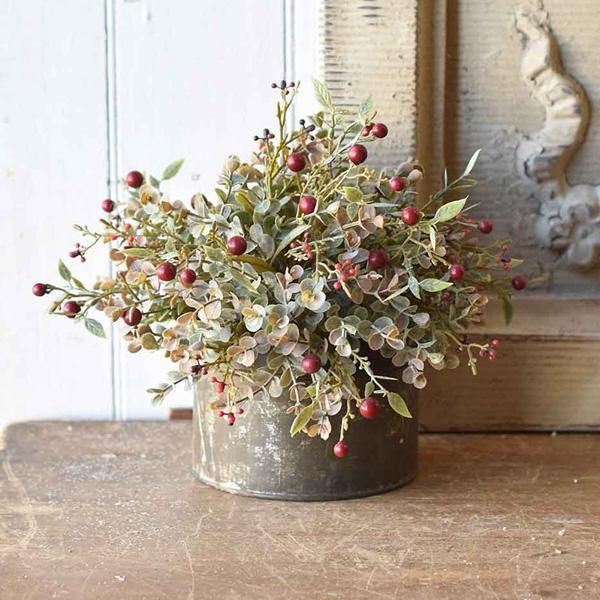 Red Berries And Eucalyptus Half Sphere Red Berries Farm Table Centerpiece Rustic Lodge Decor