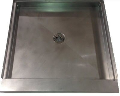 Stainless Steel Shower Pan. Also used for dog showers. Custom made to your dimensions. With or Without side walls. Great for in the garage. http://www.frigodesign.com/custom-bathrooms/custom-showers.html