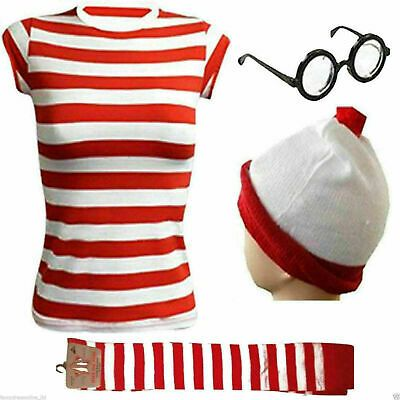 NEW WOMENS RED /& WHITE STRIPE T-SHIRT KIT HEN PARTY COSTUME BOOK WEEK DAY