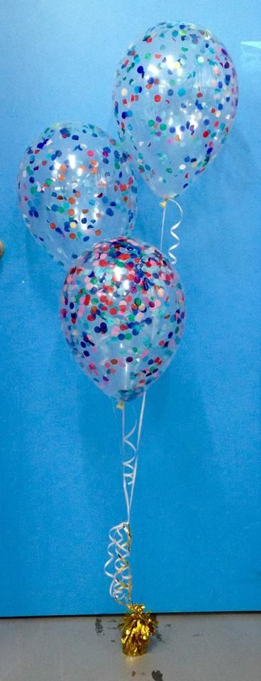 3 Metallic Balloon Arrangement - Staggered - Clear with Glitter | Party Things - Online Party Supplies