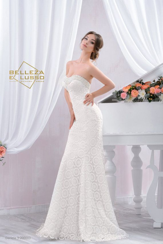 Long Fitted style Wedding dress, Slim Wedding Gown with beading