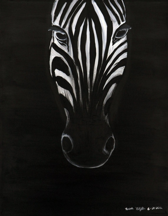 Zebra Original Painting 11x14 by MemoriesByTessa on Etsy, $200.00  Use coupon code HOLIDAY for 25% off