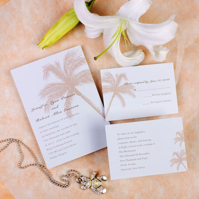 beach theme coconut tree destination wedding invitation