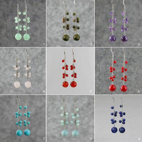 Jade long dangling chandelier Earrings Bridesmaids gifts Free