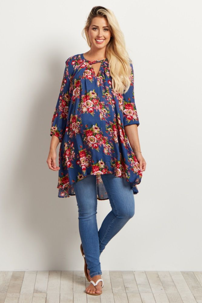You can never have enough floral tops in your closet. This gorgeous floral maternity top will make you feel beautifully feminine for every event you wear it to this season. Style it with jeans and wedges for a stunning ensemble.