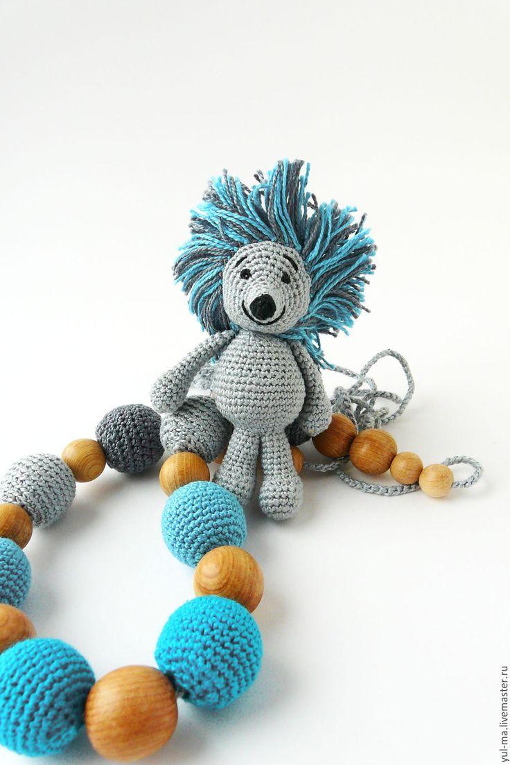 Купить Слингобусы с игрушкой Ёжик, вязаные бусы - серый, бирюзовый, голубой, темно-серый