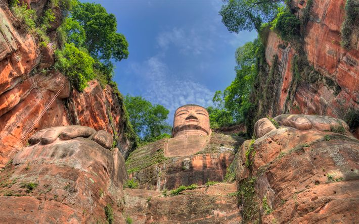 Descargar fondos de pantalla Linyong, las montañas, las rocas, la estatua de Buda, China, Asia, HDR
