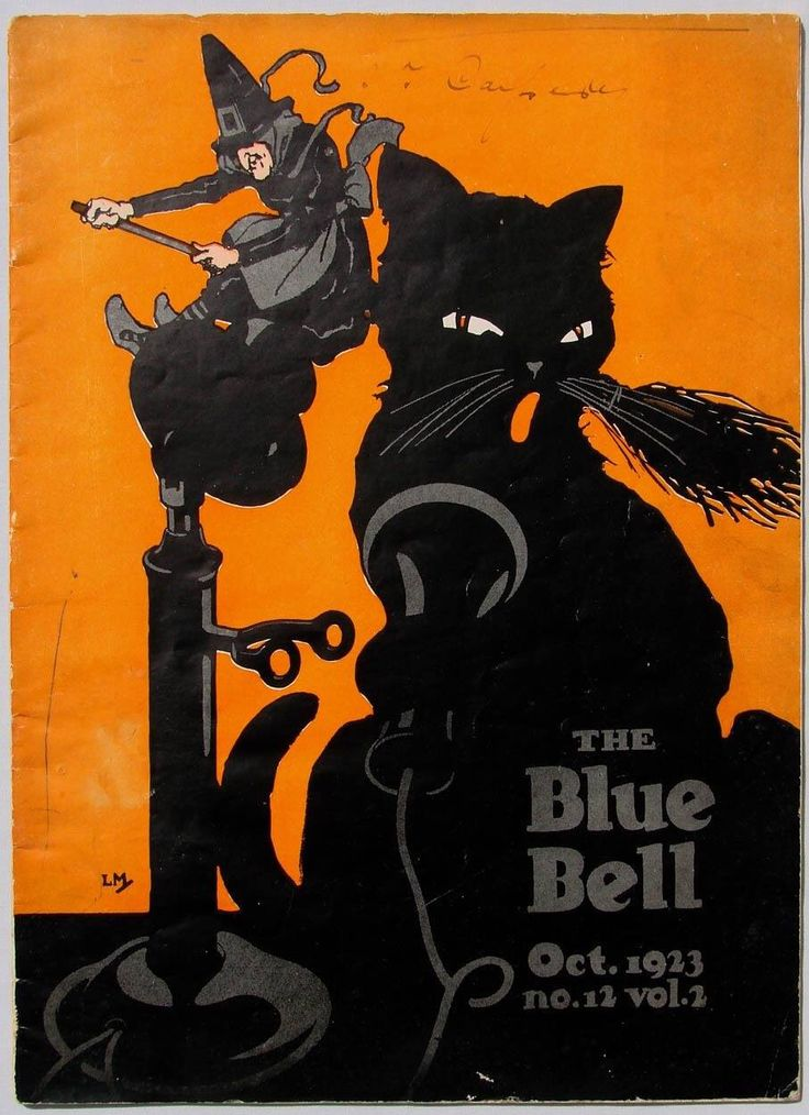 the blue bell 1923 vintage witch halloween illustration black cat orange - Vintage Halloween Witches