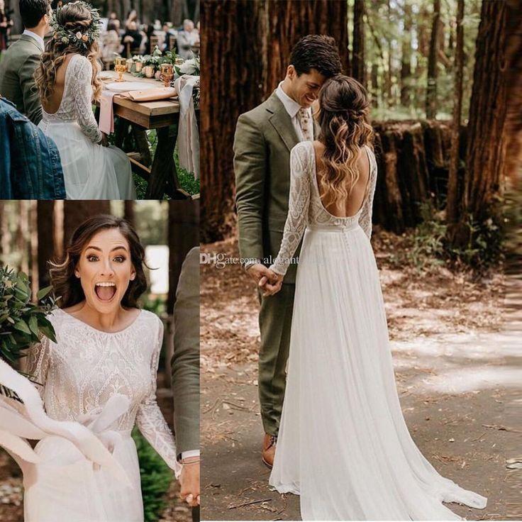 Vestido de novia de playa con manga larga 2019 Vestido de noiva Top de encaje vintage Falda de gasa Boho Vestidos de novia Tren de barrido