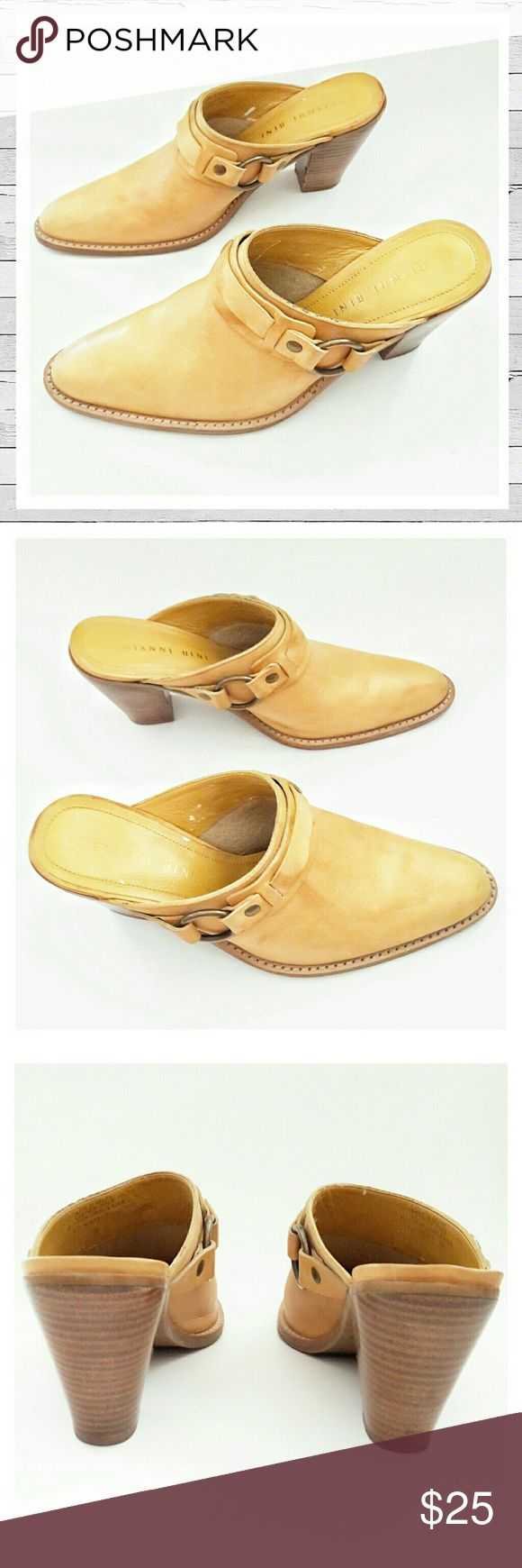 "Gianni Bini Western Style Leather Mule Clog Sz 9 Beautiful brushed butterscotch leather with inside and outside buckle detail and 3"" heel. Some light wear as visible in photos. Still in very good condition. Bundle and save! Sorry no trades. Gianni Bini Shoes Mules & Clogs"