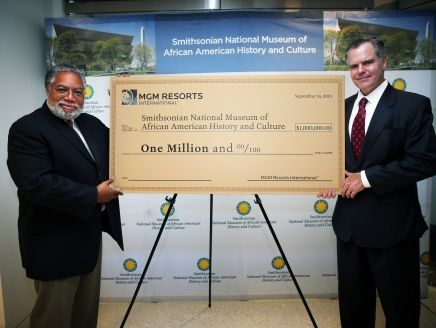 Pictured (l. to r.) at a ceremonial check presentation celebrating MGM Resorts International's pledge of $1 million to the Smithsonian's National Museum of African American History and Culture (NMAAHC) are Lonnie G. Bunch III, Founding Director of NMAAHC, and Jim Murren, Chairman and Chief Executive Officer of MGM Resorts International.