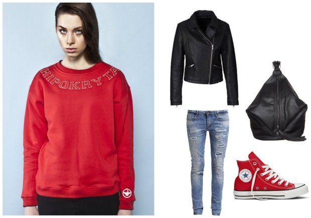 Stylizacja buntowniczki: bluza Keyce, ramoneska BonPrix, plecak Even&odd, jeansy Le Temps de Cerises, trampki Converse