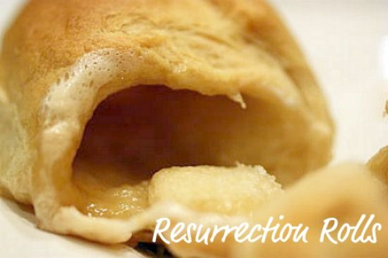 """Resurrection Rolls for Easter. Demonstrates how the tomb was empty after Jesus rose. You place a marshmallow in a crescent roll, seal, and bake. When they are done the marshmallow will have melted and your """"tomb"""" is empty."""