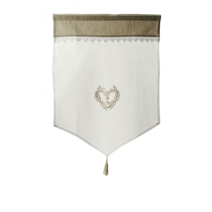 Comptoir de famille - Brise-Bise Blanc Coeur Brodé  GRAND-MERE