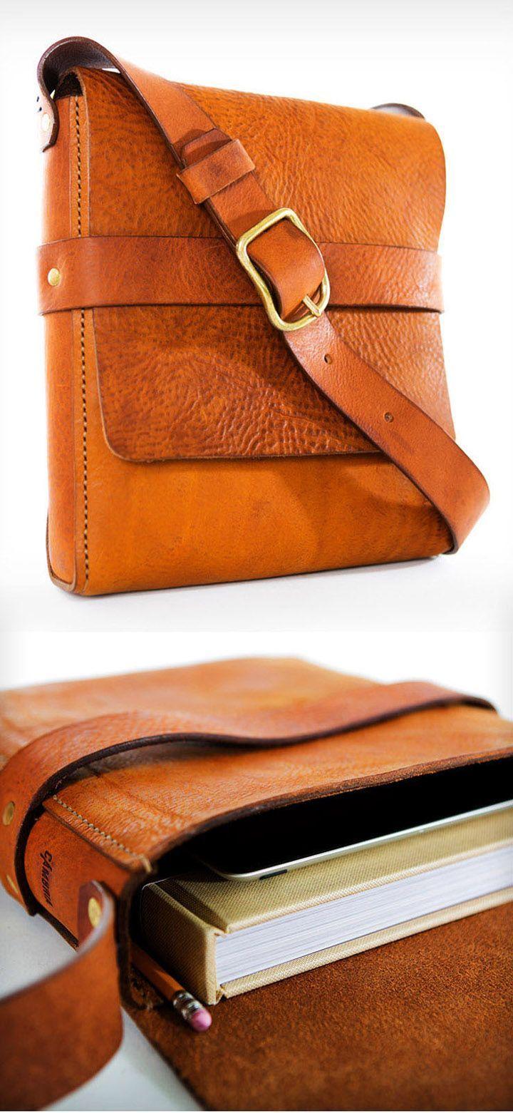 attillathemum:  Brown leather messenger bag