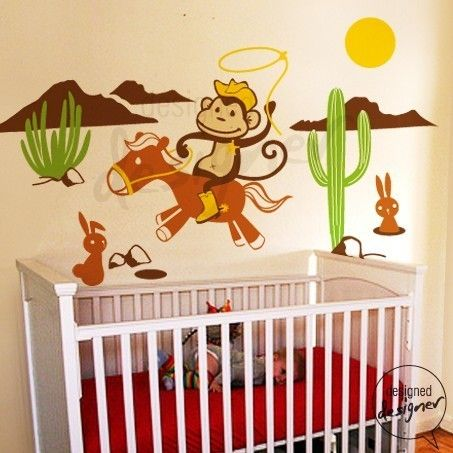 Kid wall decal wall sticker cowboy monkey wall decal for Cowboy kids room