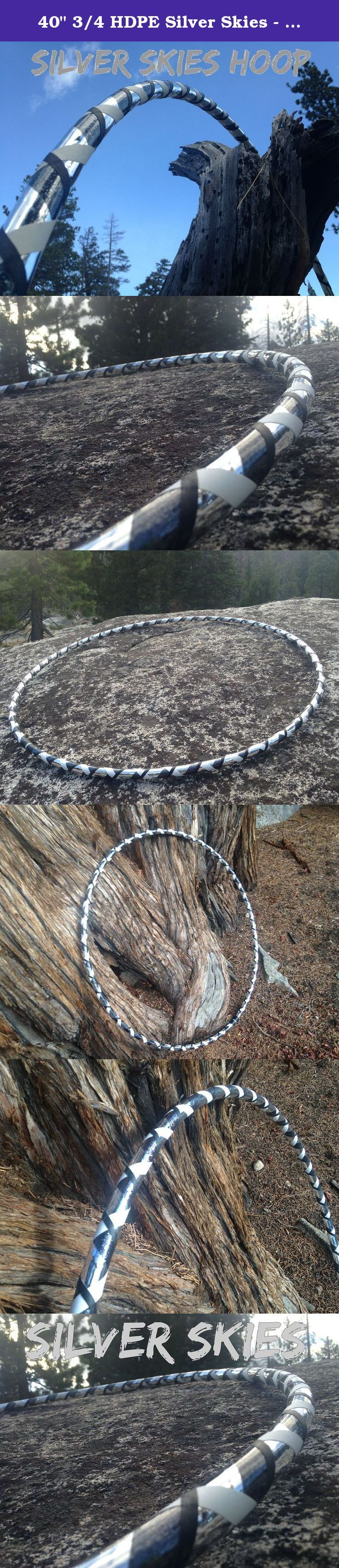 """40"""" 3/4 HDPE Silver Skies - Specialty Taped Hula Hoop. Introducing the Silver Skies Hoop by Colorado Hula Hoops! This Hoop Shines and Sparkles so beautifully outside in the sunshine. Made from 3/4"""" HDPE and completely covered in our Silver and Graphite Metallic tapes as well as a white and black gaffers tapes. Pick your size for the diameter of the hoop. If you would like a different material or size of hoop than what is offered here please just add this to your notes when purchasing or..."""