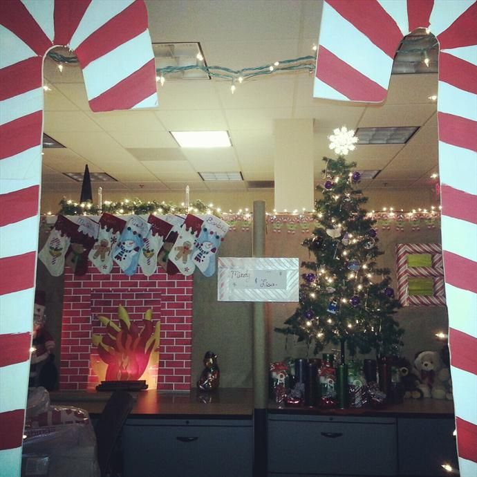 167 best cubicle christmas office decorating contest for Cubicle decoration xmas