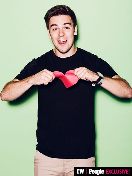 Cody Ko kept his heart front and center inside the PEOPLE/EW #VidCon booth on Saturday.  Image Credit: Ramona Rosales/People/EW