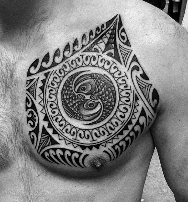 Marquesan Breast Tattoo Design