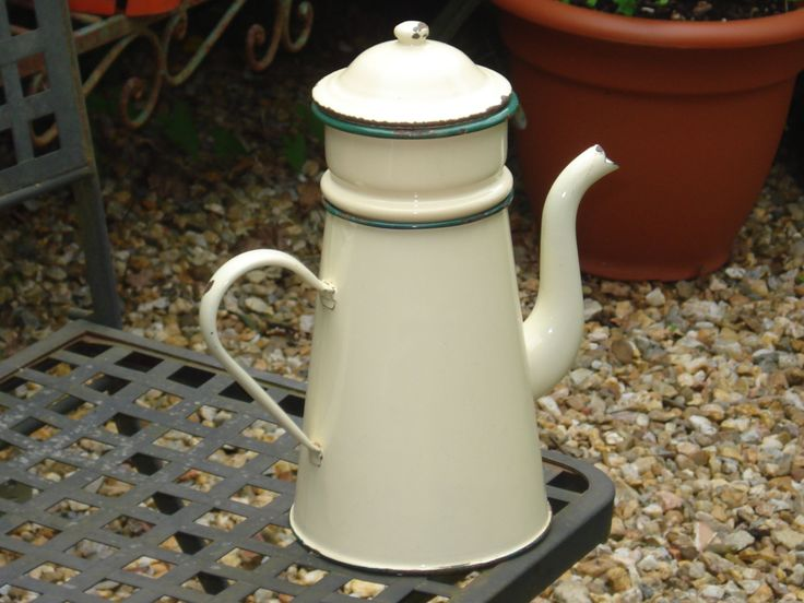 French vintage shabby chic cream and green enamel coffee jug, rustic kitchen by FrenchConnexion on Etsy https://www.etsy.com/uk/listing/237036576/french-vintage-shabby-chic-cream-and