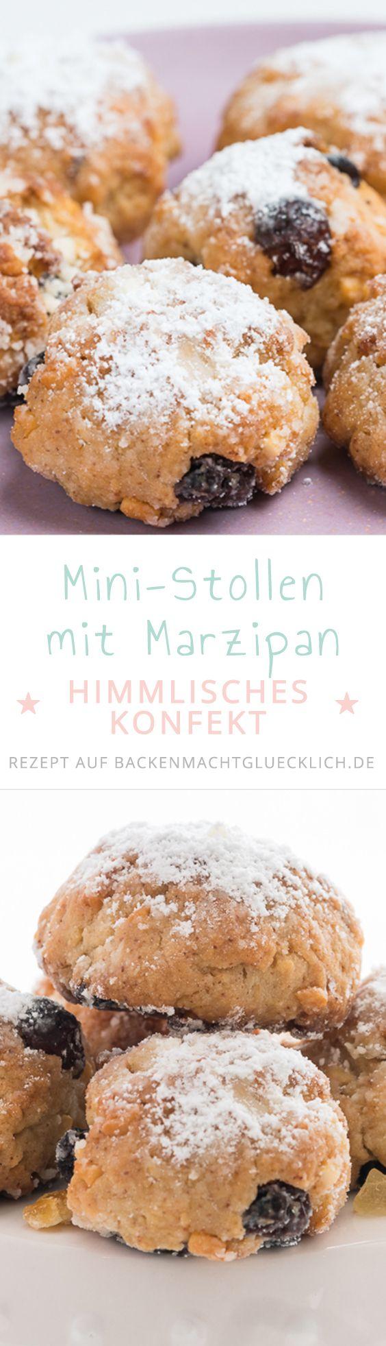 Klassiker im Miniformat: Dieses himmlische Stollenkonfekt mit Marzipan schmeckt einfach köstlich. Mit einem Happs sind die Ministollen im Mund