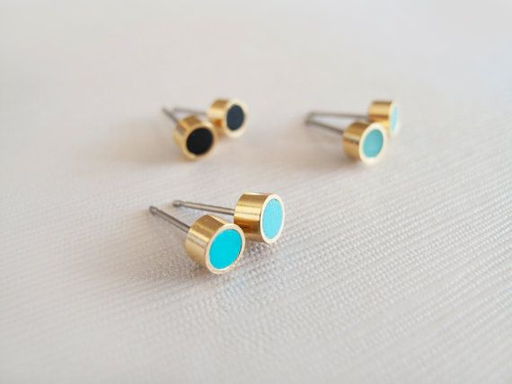 Tiny Set of Three Pairs 5mm or 3.5mm Tiffany, Black, Mint Gold Stud earrings - Hypoallergenic Surgical Steel Posts