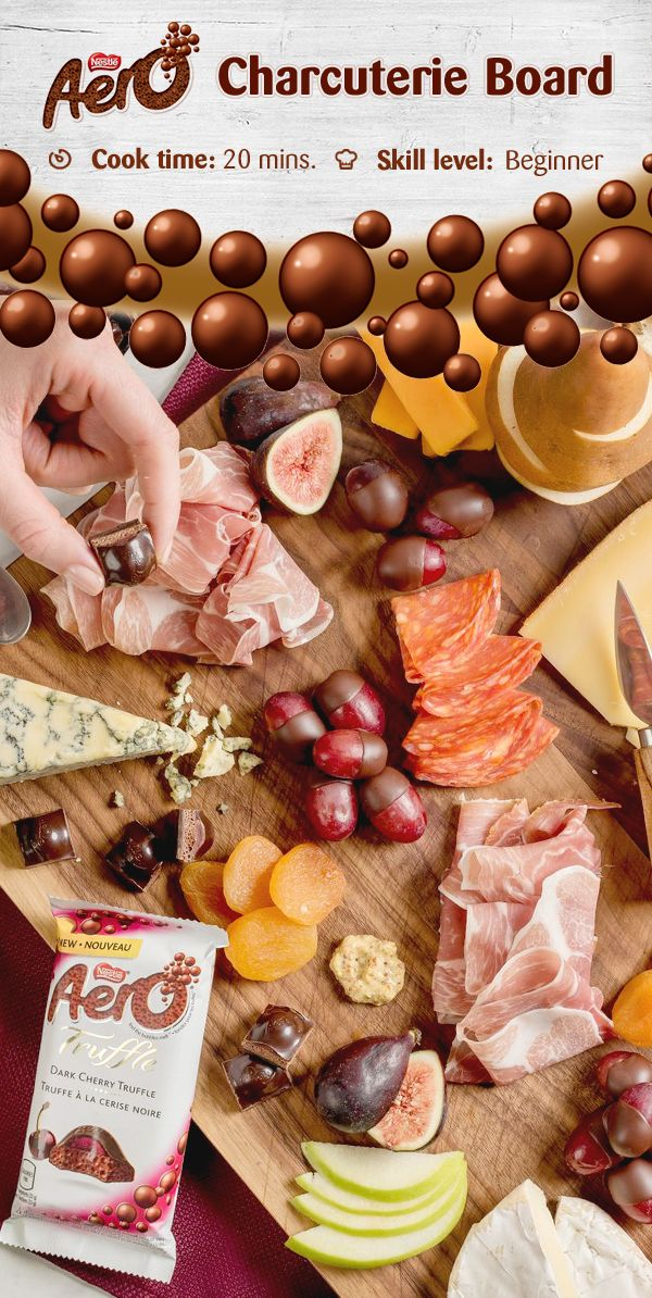 AERO Truffle chocolate is the perfect pairing for this simple charcuterie board. Share with friends or a loved one with your favourite red or white wines, or non-alcoholic beverages. Click to discover the full recipe.
