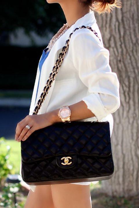 Classy. Purse, watch, blazer