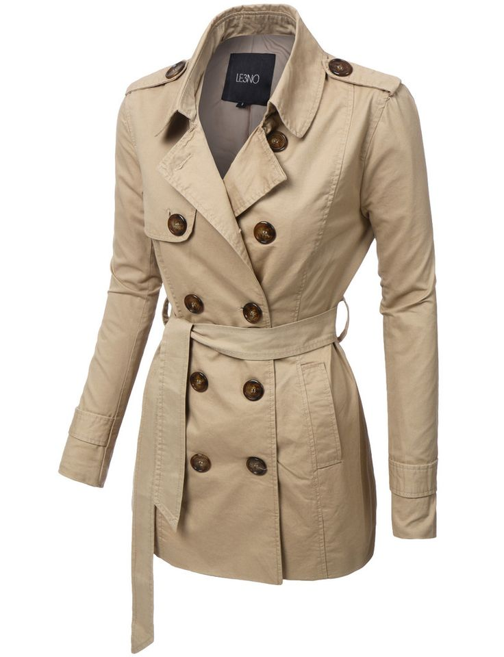 LE3NO Womens Double Breasted Cotton Twill Trench Coat Jacket with Belt