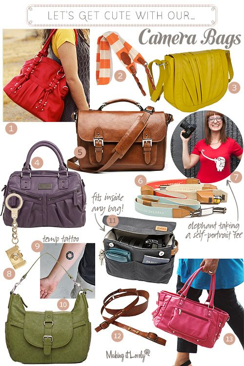 Stylish camera bags. Carry all your purse essentials and your camera!  Oh and look cute too!