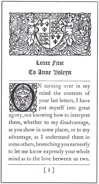 "First page of ""The Love Letters of Henry VIII to Anne Boleyn""..."