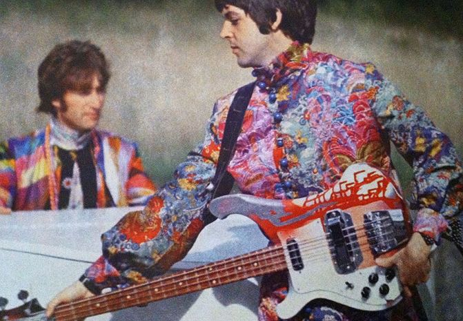 "maccasmccartney: """"Paul McCartney and John Lennon in Magical Mystery Tour, 1967. Paul hand painted this Rickenbacker bass in psychedelic colours. "" """