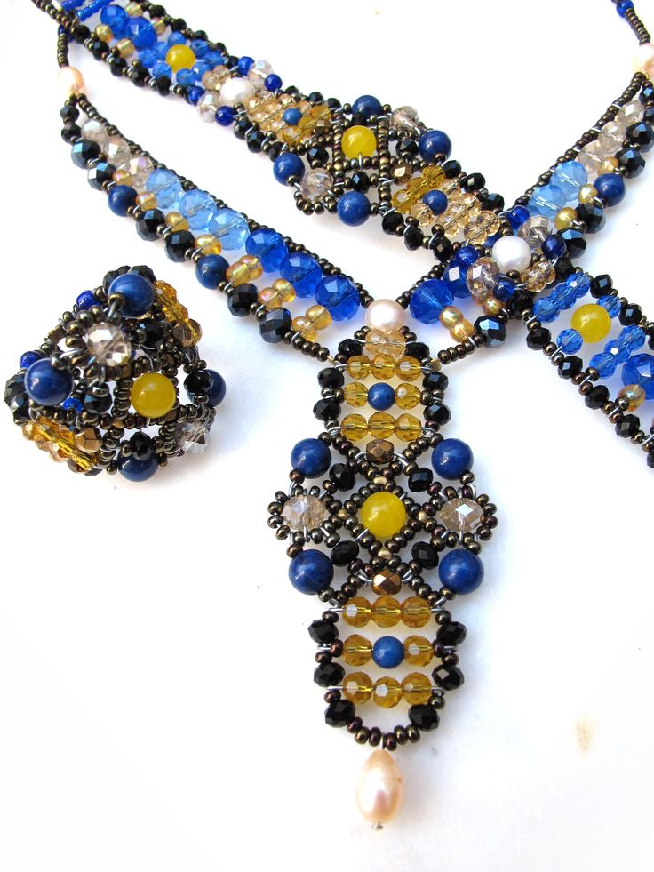 """Sheherezade Deep Blue"" set from Musesa Design Collection. Lapis, Yellow Topaz & Freshwater Pearls.  www.musesa.com"