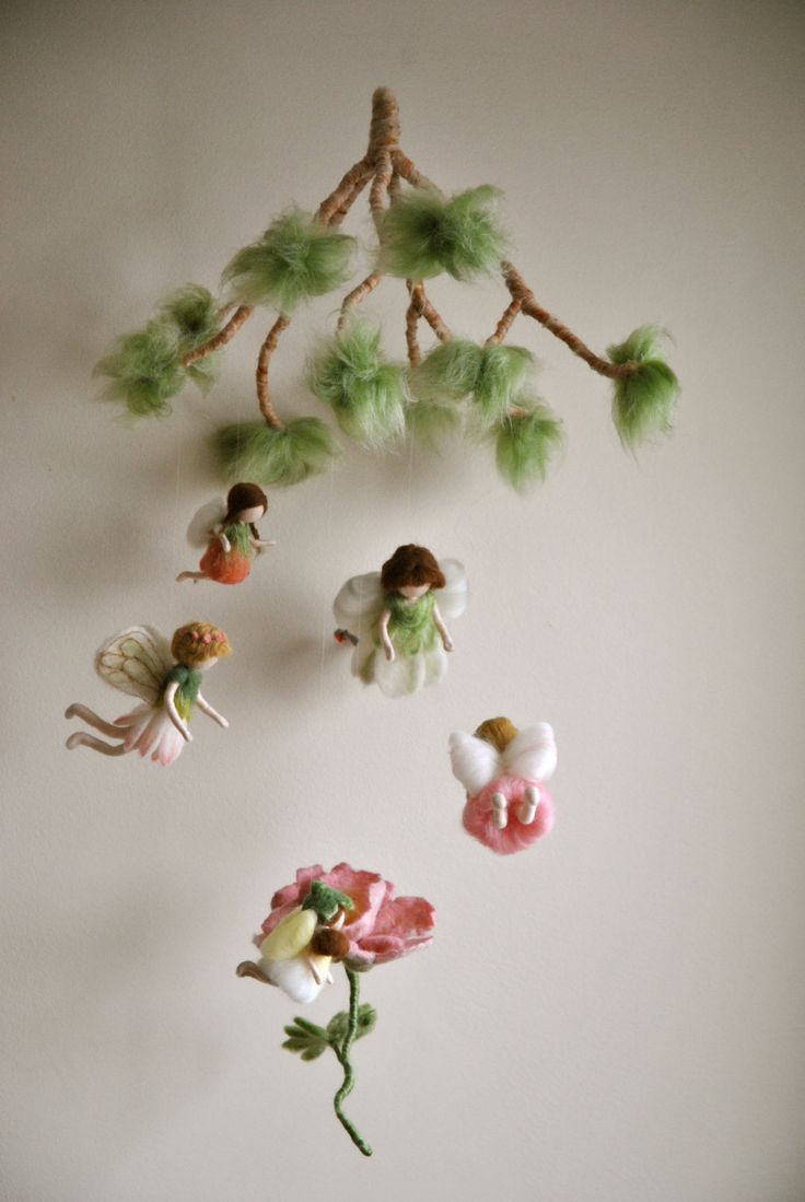 Spring+mobile++Waldorf+inspired+needle+felted+dolls+by+MagicWool,+$295.00