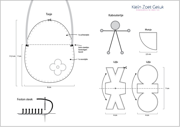 Werktekening voor het maken van een vilten tasje en kabouter