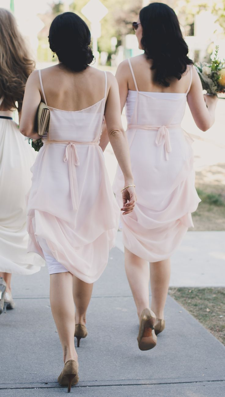 As featured in BRIDES.COM Blush chiffon bridesmaids dresses | by Elika In Love. www.elikainlove.com