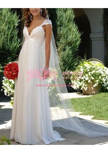 Chiffon Deep V-neck Empire with Drape/Beading/Sequins Ethereal Wedding Dress