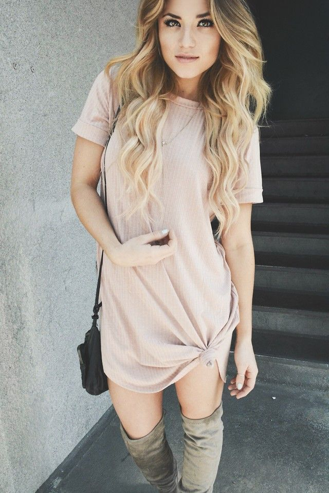 Caitlynn Lawson - Windsor Store Blush Pink T Shirt Dress, Windsor Store Over The Knee Boots - Spring Must Haves