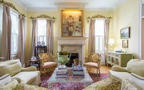 Обои картина, комод, кресла, диваны, гостиная, декор, камин, дизайн