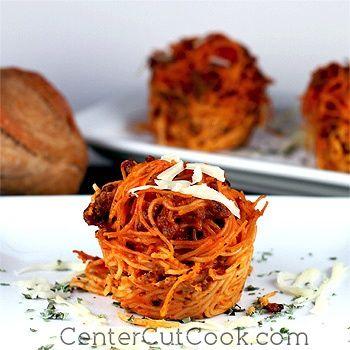 Italian Love Nests (Cheesy Pasta Cups)-- super cute idea for Valentine's Day dinner!