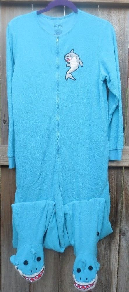 Nick and Nora Shark One Piece Footed Blue Pajama Party Pjs Small S One Piece  #NickNora #FootedPajamas #Everyday