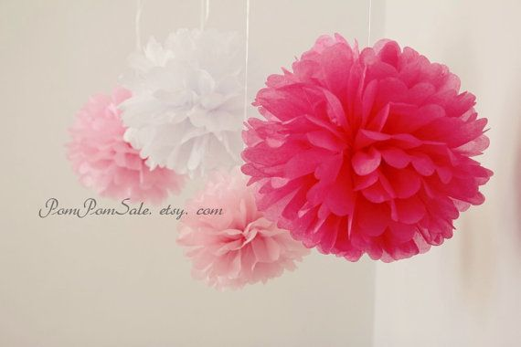It's a Girl  8 Tissue Paper Pom Poms  or choose your by PomPomSale, $20.00