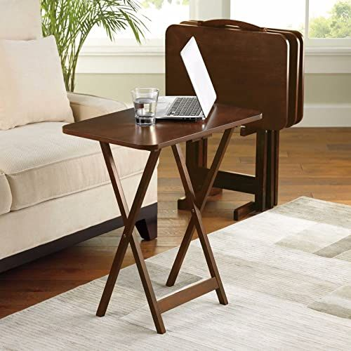 Buy 5 Piece Tray Table Set Folding Wood Tv Game Snack Dinner Couch Laptop Stand 1 Online Tv Tray Table Table Camping Furniture