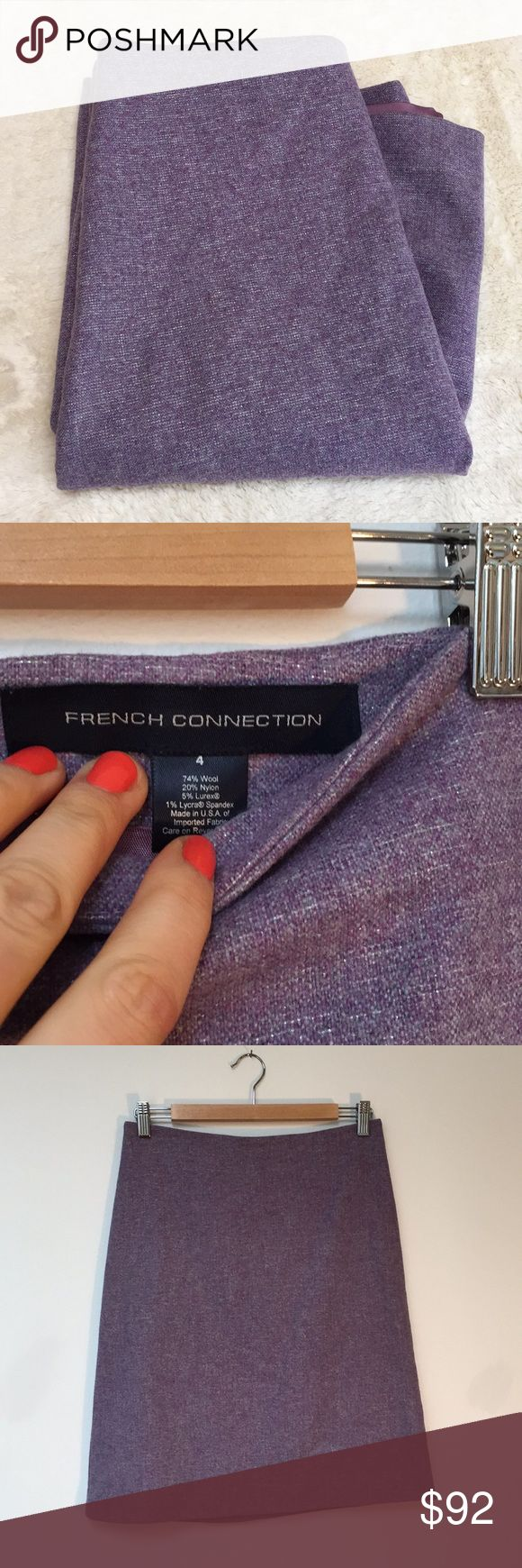 """French Connection Silver Threaded Wool Pencil Skt Beautiful condition soft and bright wool pencil skirt with hidden zip, excellent fit  29"""" Waist; 35"""" Hip; 21.25"""" Hem French Connection Skirts Pencil"""