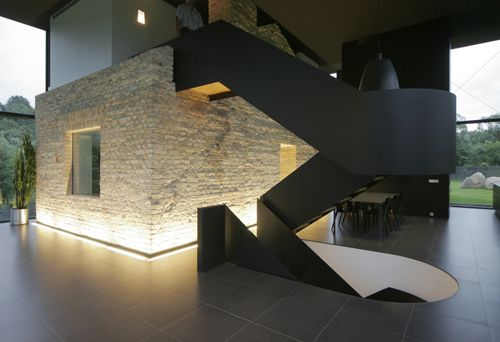 stair: Lights, Stairs, Yellow Brick House, Stairca, Lithuania, Glasses House, Design, Regions Parks, Families House